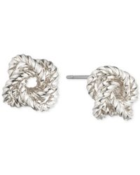 Nine West | Metallic Silver-tone Twisted Knot Stud Earrings | Lyst