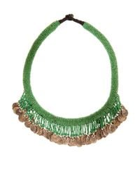 Muzungu Sisters - Green Beaded Coin Necklace - Lyst