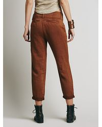 Free People | Brown Relaxed Washed Trouser | Lyst