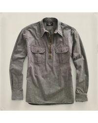 RRL | Black Selvedge Pullover Workshirt for Men | Lyst