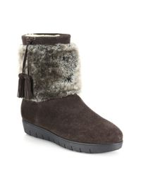 Aquatalia - Brown Wilona Suede & Faux Fur Ankle Boots - Lyst