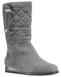 Michael Kors | Gray Michael Lizzie Quilted Cold Weather Boots | Lyst