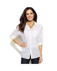 Ellen Tracy - White Longsleeve Cotton Boyfriend Shirt - Lyst