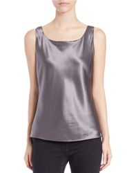 Lafayette 148 New York | Gray Silk Charmeuse Bias Cut Tank | Lyst