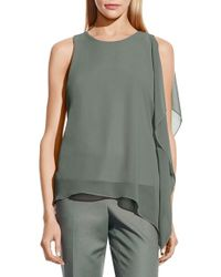 Vince Camuto - Green Sleeveless Top With Asymmetrical Chiffon Overlay - Lyst