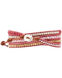 Chan Luu | Pink Wrap with Swarvoski Pearls Quartz Crystal Ab Nuggetsnatural Brownbs | Lyst