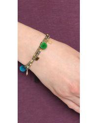 Tai - Metallic Evil Eye Pom Pom Beaded Bracelet - Gold Multi - Lyst