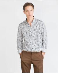 Zara | White Floral Printed Shirt for Men | Lyst