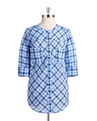 C&C California - Blue Plaid Button-down Blouse - Lyst