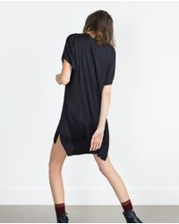 Zara | Blue Metallic Appliqué Tunic | Lyst