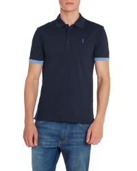 HUGO | Blue Plain Polo Slim Fit Polo Shirt for Men | Lyst