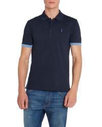 HUGO - Blue Plain Polo Slim Fit Polo Shirt for Men - Lyst