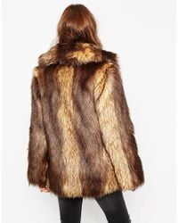 ASOS | Brown Petite Vintage Faux Fur Coat | Lyst