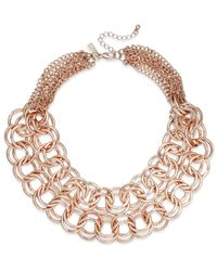 INC International Concepts - Pink Rose Gold-tone Double Link Necklace - Lyst