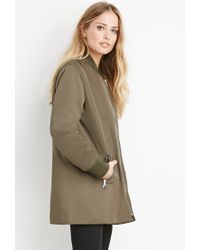 Forever 21 - Brown Oversized Bomber Jacket - Lyst