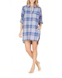 DKNY | Blue Plaid Boyfriend Sleepshirt | Lyst