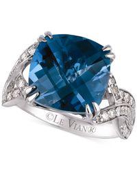 Le Vian - Blue Topaz (8 Ct. T.w.) And Diamond (1/2 Ct. T.w.) Ring In 14k White Gold - Lyst