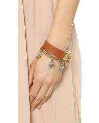 Tory Burch - Brown Lock Closure Leather Bracelet Luggageshiny Gold - Lyst