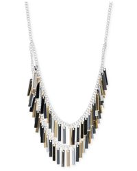 Nine West | Metallic Silver-tone Fringe Necklace | Lyst