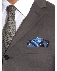 Lanvin - Blue Contrasting Polka-dot Print Silk Pocket Square for Men - Lyst