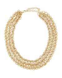 R.j. Graziano - Metallic Golden Three-row Chain Necklace - Lyst