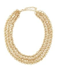 R.j. Graziano | Metallic Golden Three-row Chain Necklace | Lyst