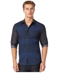 Guess | Blue Kimmel Striped Shirt for Men | Lyst