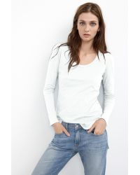 Velvet By Graham & Spencer - White Annemarie Cotton Slub Scoop Neck Tee - Lyst
