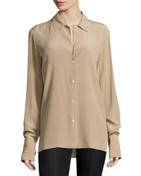 The Row - Natural Nolta Washed Crepe De Chine Long-sleeve Blouse - Lyst
