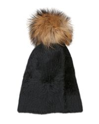 Kreisi Couture - Black Papalina Shearling Hat With Pompom - Lyst