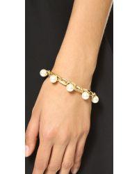 Joomi Lim | Metallic Dot And Dash Single Row Pearl Bracelet - Gold/Cream | Lyst