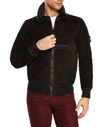 Stone Island | Black Waxed Suede Bomber Jacket for Men | Lyst