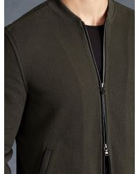 John Varvatos - Green Fleece Lined Zip Front Jacket for Men - Lyst