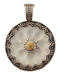 Konstantino | Metallic Round Flower Carved Frosted Crystal Enhancer | Lyst