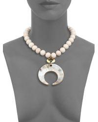 Nest | White Bone & Horn Beaded Crescent Pendant Necklace | Lyst