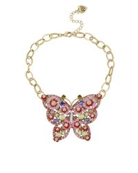 Betsey Johnson - Pink Crystallized Butterfly Pendant Necklace - Lyst