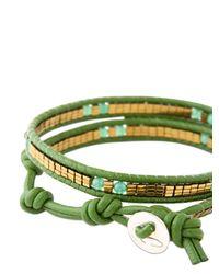 Colana - Green Leather Wrap Bracelet With Jade - Lyst