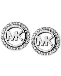 Michael Kors | Metallic Silver-Tone Mk Pavé Stud Clip-On Earrings | Lyst
