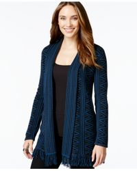 Style & Co. | Blue Style&co. Petite Open-front Jacquard-knit Cardigan, Only At Macy's | Lyst