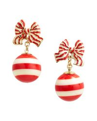 kate spade new york - Red 'out Of The Loop' Bow Drop Earrings - Lyst