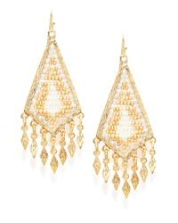 Cara | Metallic Woven-Bead Drop Earrings | Lyst