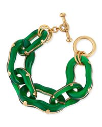 Oscar de la Renta - Resin Link Bracelet Green - Lyst