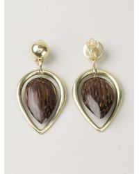 Vaubel - Brown Wood Drop Leaf Earrings - Lyst