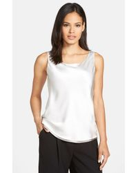 Lafayette 148 New York | Metallic Reversible Refined Silk Charmeuse Tank | Lyst