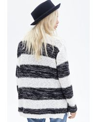 Forever 21 - Black Striped Open-front Cardigan - Lyst