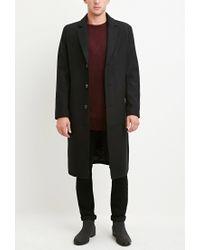 Forever 21 - Black Wool-blend Longline Coat for Men - Lyst