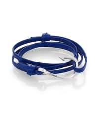 Miansai - Blue Silvertone Hook Leather Bracelet - Lyst