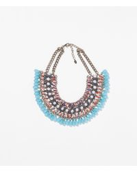 Zara | Blue Diamante and Cord Necklace | Lyst