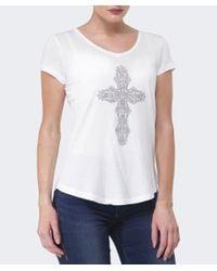 True Religion   White Cross Diamante T-shirt   Lyst