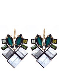 Nak Armstrong - Green Gemstone Mosaic Drop Earrings - Lyst